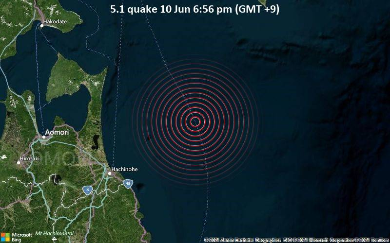5.1 quake 10 Jun 6:56 pm (GMT +9)
