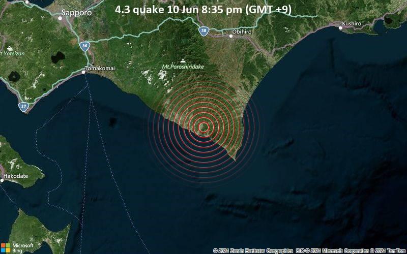 4.3 quake 10 Jun 8:35 pm (GMT +9)