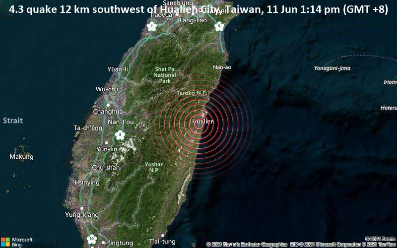 4.3 quake 12 km southwest of Hualien City, Taiwan, 11 Jun 1:14 pm (GMT +8)