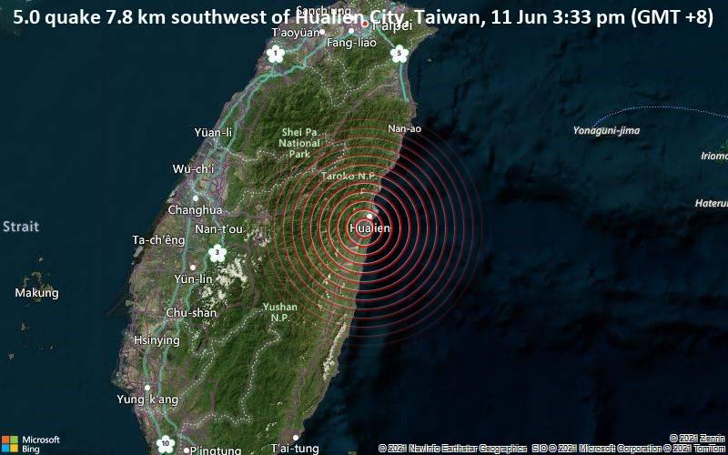 5.0 quake 7.8 km southwest of Hualien City, Taiwan, 11 Jun 3:33 pm (GMT +8)