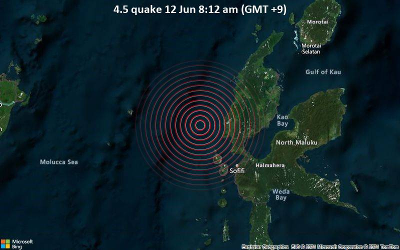 4.5 quake 12 Jun 8:12 am (GMT +9)