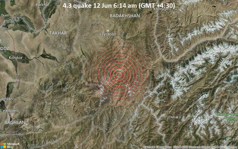 4.3 quake 12 Jun 6:14 am (GMT +4:30)