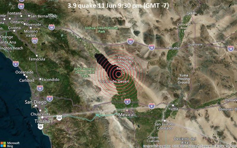 3.9 quake 11 Jun 9:30 pm (GMT -7)