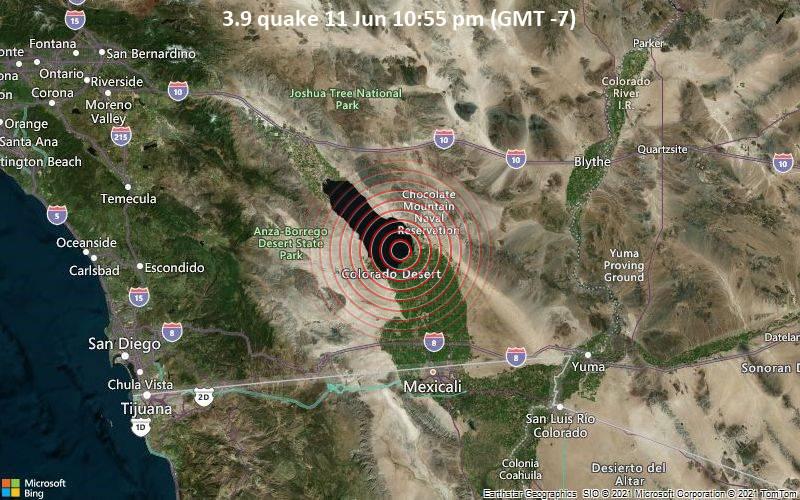 3.9 quake 11 Jun 10:55 pm (GMT -7)