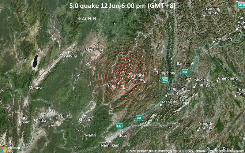 5.0 quake 12 Jun 6:00 pm (GMT +8)