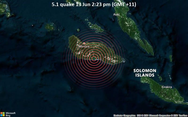5.1 quake 13 Jun 2:23 pm (GMT +11)