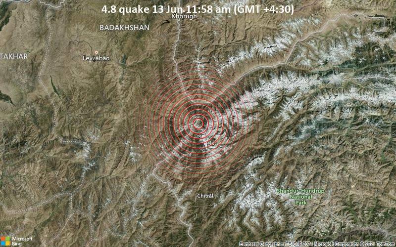 4.8 quake 13 Jun 11:58 am (GMT +4:30)