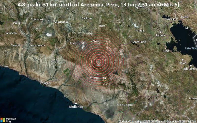 4.8 quake 31 km north of Arequipa, Peru, 13 Jun 2:31 am (GMT -5)