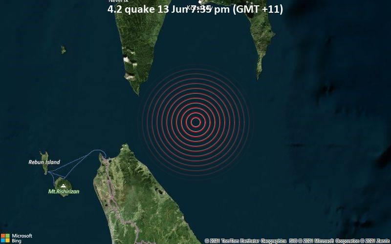 Leichtes Erdbeben der Stärke 4.2 - Sea of Okhotsk, 87 km östlich von Wakkanai, Hokkaido, Japan, am Sonntag, 13. Jun 2021 um 19:35 Lokalzeit