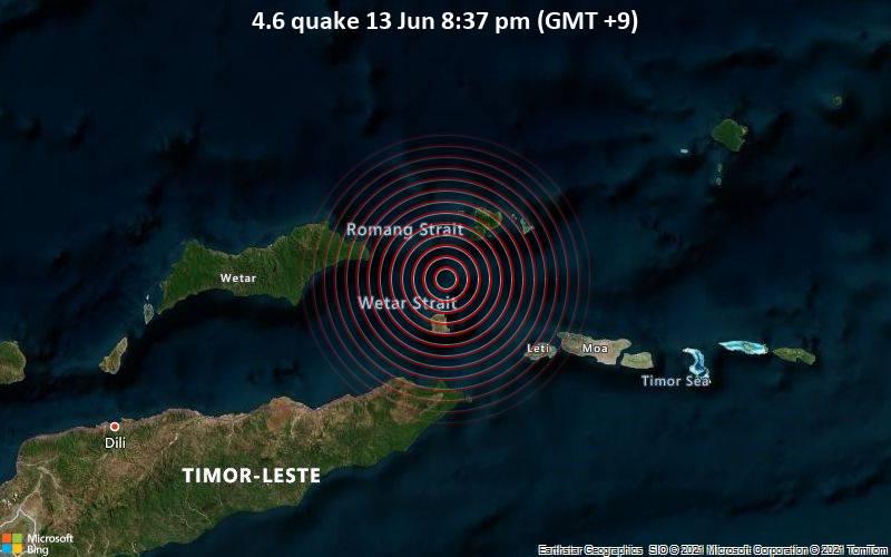 Leichtes Erdbeben der Stärke 4.6 - Banda Sea, 79 km nördlich von Lospalos, Lautém, Timor-Leste, am Sonntag, 13. Jun 2021 um 11:37 GMT