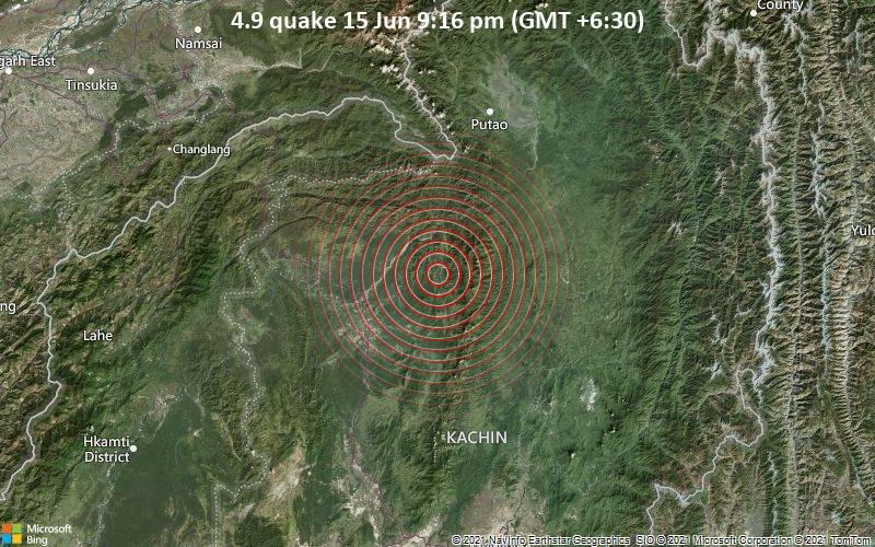 4.9 quake 15 Jun 9:16 pm (GMT +6:30)
