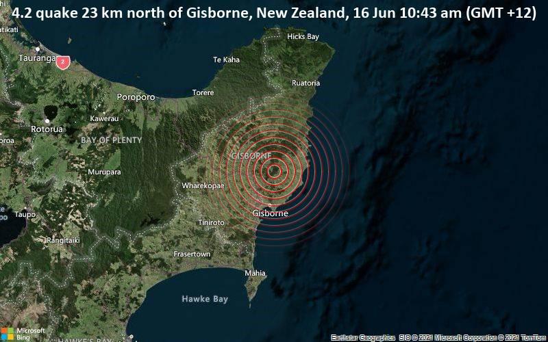 4.2 quake 23 km north of Gisborne, New Zealand, 16 Jun 10:43 am (GMT +12)