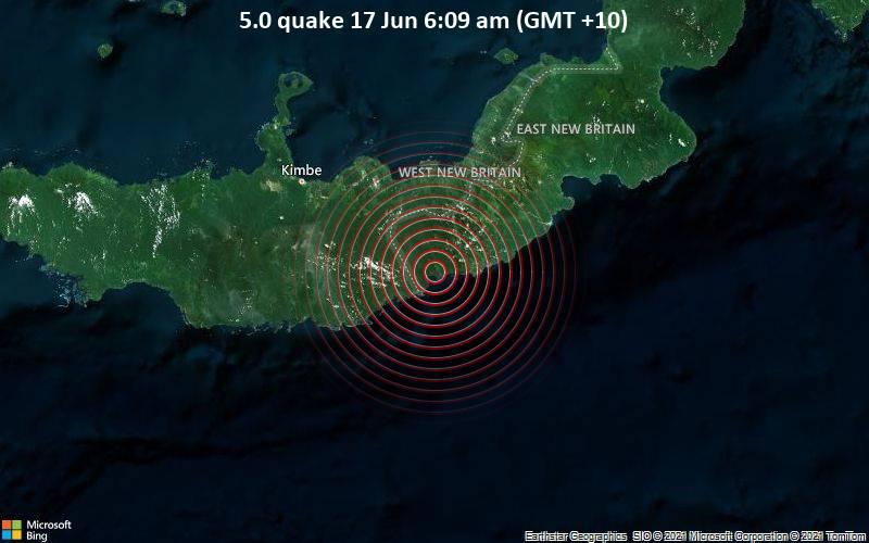 5.0 quake 17 Jun 6:09 am (GMT +10)