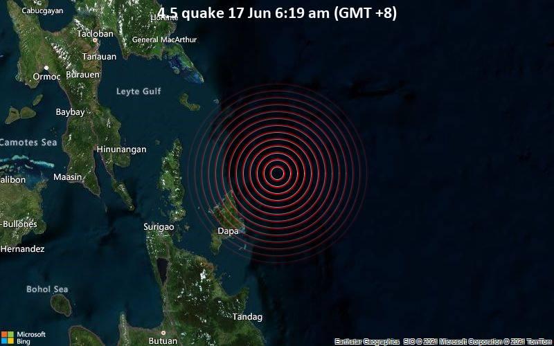 4.5 quake 17 Jun 6:19 am (GMT +8)