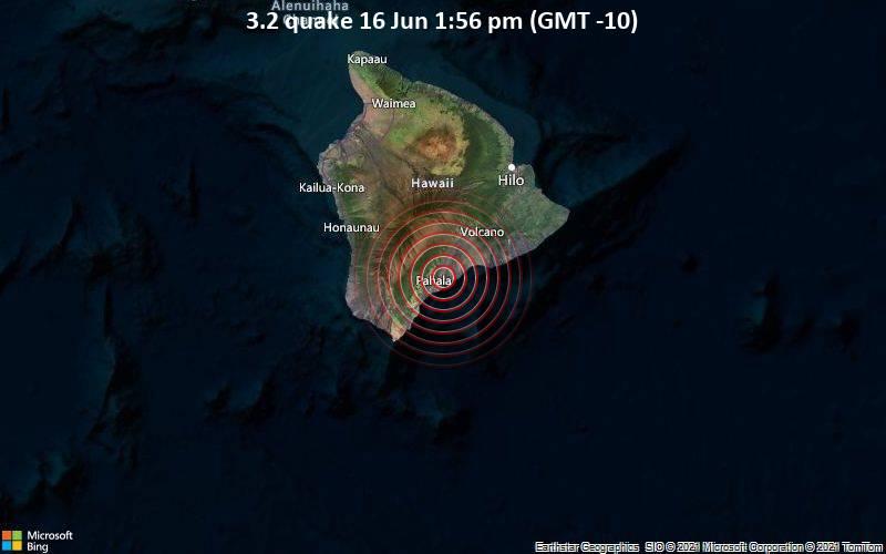 Schwaches Erdbeben Stärke 3.2 - 68 km südwestlich von Hilo, Hawaii County, USA, am Mittwoch, 16. Jun 2021 um 13:56 Lokalzeit