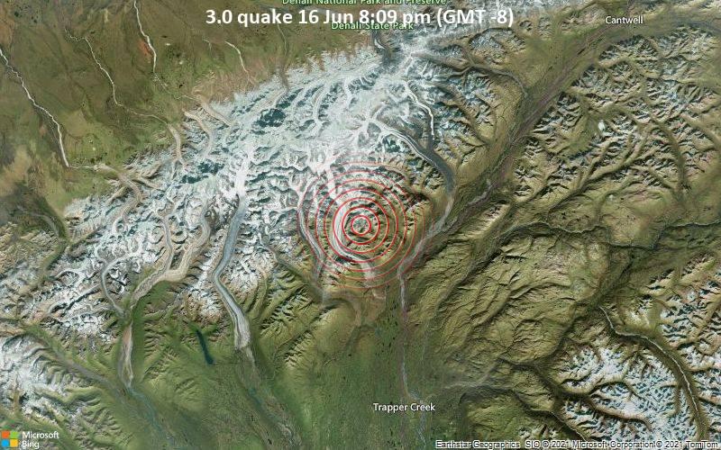 Sehr schwaches Beben Stärke 3.0 - Matanuska-Susitna Parish, 181 km nördlich von Alaska City, Anchorage, Alaska, USA, am Mittwoch, 16. Jun 2021 um 20:09 Lokalzeit