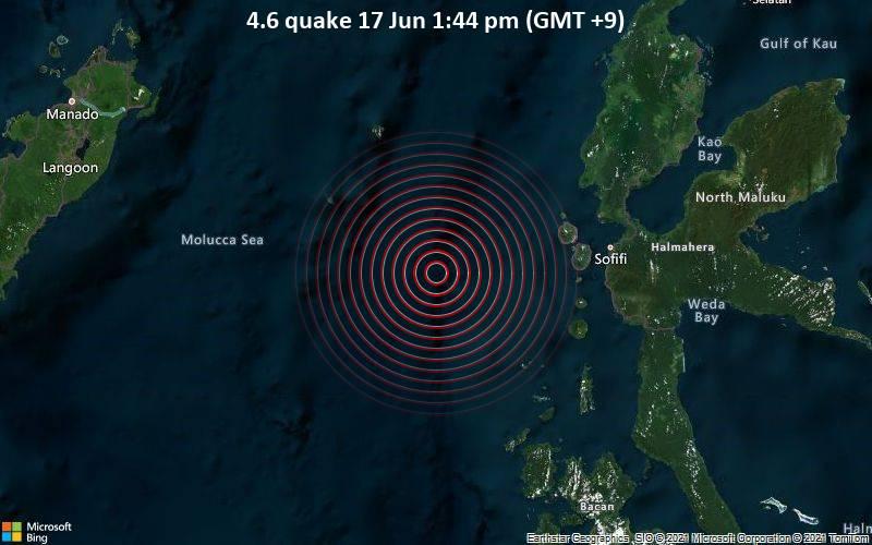 Moderates Erdbeben der Stärke 4.6 - Molucca Sea, 81 km westlich von Ternate, North Maluku, Indonesien, am Donnerstag, 17. Jun 2021 um 04:44 GMT