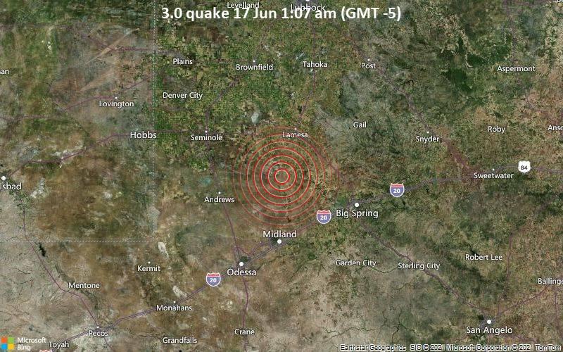 Schwaches Erdbeben Stärke 3.0 - Martin County, 48 km nördlich von Midland, Texas, USA, am Donnerstag, 17. Jun 2021 um 01:07 Lokalzeit