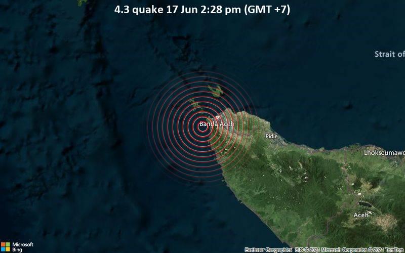 Leichtes Erdbeben der Stärke 4.3 - Indischer Ozean, 21 km südwestlich von Banda Aceh, Indonesien, am Donnerstag, 17. Jun 2021 um 07:28 GMT