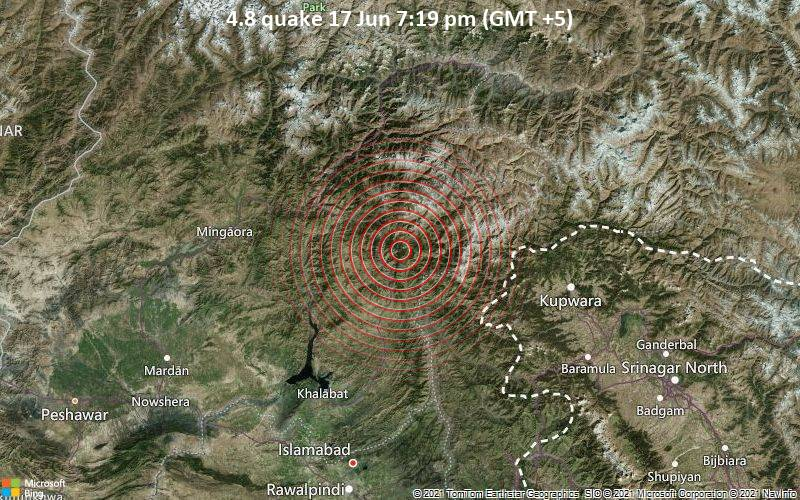 Moderates Erdbeben der Stärke 4.8 - Mānsehra, Khyber Pakhtunkhwa, 38 km nördlich von Muzaffarabad, Pakistan, am Donnerstag, 17. Jun 2021 um 14:19 GMT