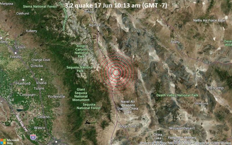 Leichtes Erdbeben der Stärke 3.2 - 24 km südöstlich von Lone Pine, Inyo County, Kalifornien, USA, am Donnerstag, 17. Jun 2021 um 10:13 Lokalzeit