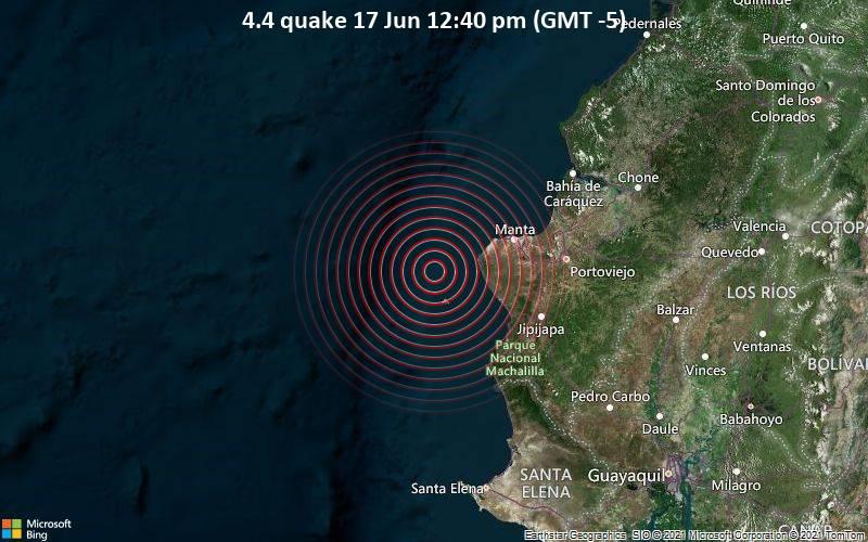 Moderates Erdbeben der Stärke 4.4 - South Pacific Ocean, 50 km westlich von Manta, Provincia de Manabi, Ecuador, am Donnerstag, 17. Jun 2021 um 12:40 Lokalzeit