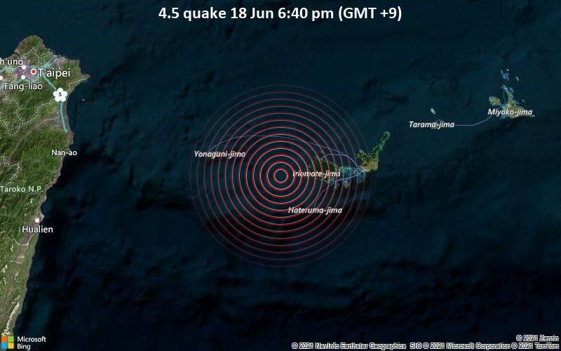 4.5 quake 18 Jun 6:40 pm (GMT +9)