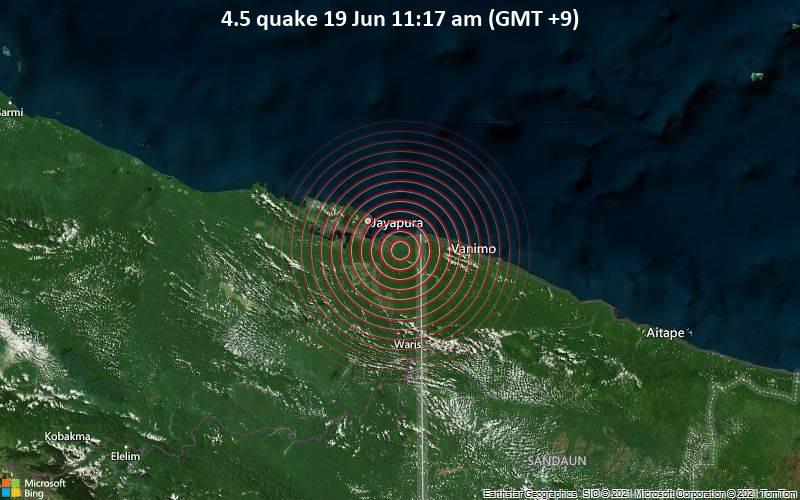 4.5 quake 19 Jun 11:17 am (GMT +9)