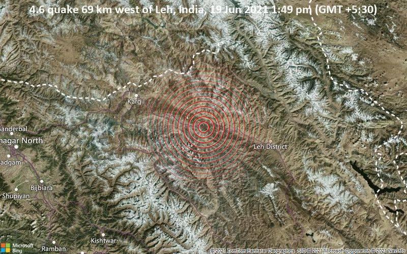 4.6 quake 69 km west of Leh, India, 19 Jun 2021 1:49 pm (GMT +5:30)