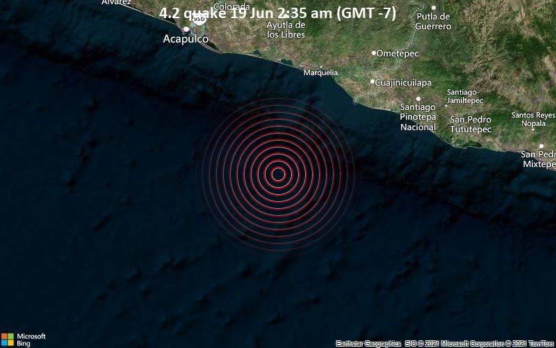 Moderates Erdbeben der Stärke 4.2 - Nordpazifik, 144 km südöstlich von Acapulco, Guerrero, Mexiko, am Samstag, 19. Jun 2021 um 02:35 Lokalzeit