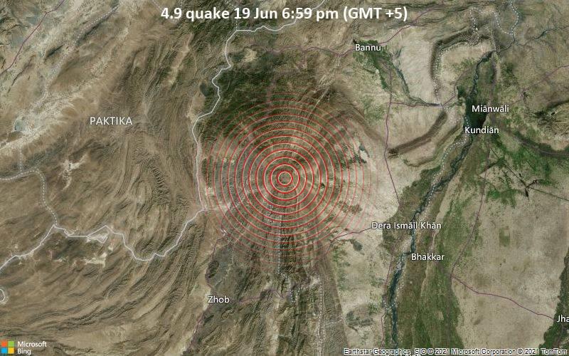 Moderates Erdbeben der Stärke 4.9 - South Wazīristān, 42 km westlich von Tank, Tānk, Khyber Pakhtunkhwa, Pakistan, am Samstag, 19. Jun 2021 um 13:59 GMT