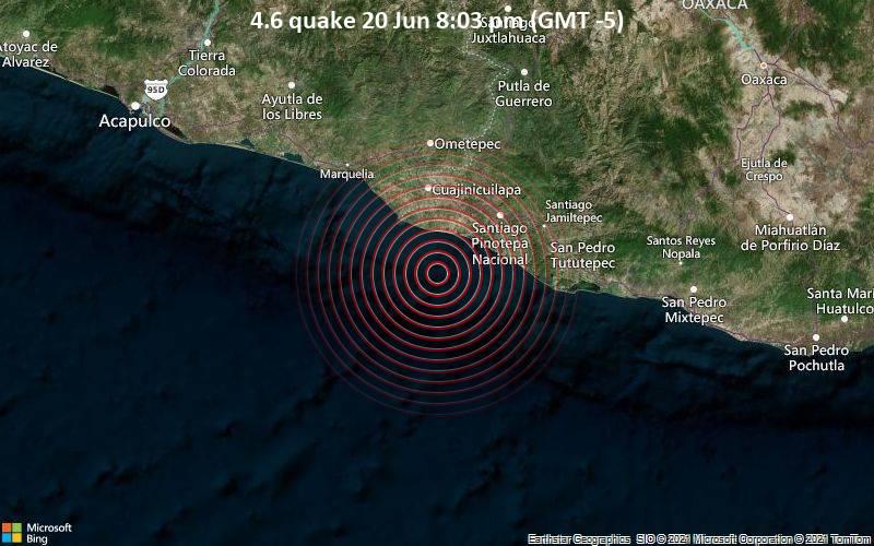 4.6 quake 20 Jun 8:03 pm (GMT -5)