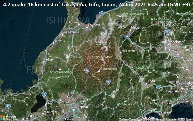 4.2 quake 16 km east of Takayama, Gifu, Japan, 24 Jun 2021 6:45 am (GMT +9)