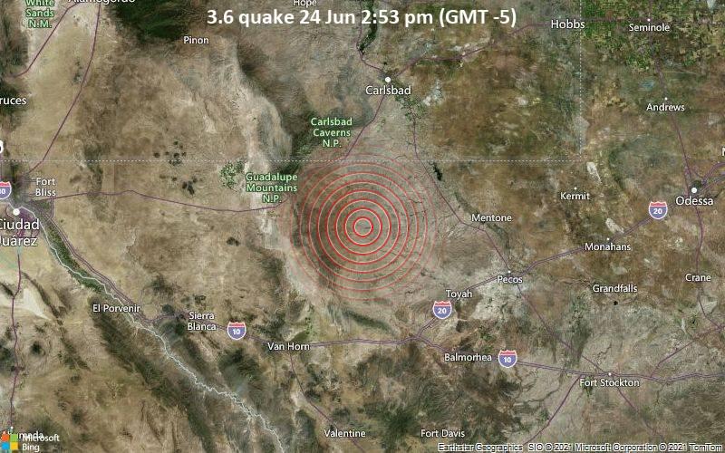 Leichtes Erdbeben der Stärke 3.6 - Culberson County, Texas, 85 km südlich von Carlsbad, Eddy County, New Mexico, USA, am Donnerstag, 24. Jun 2021 um 14:53 Lokalzeit