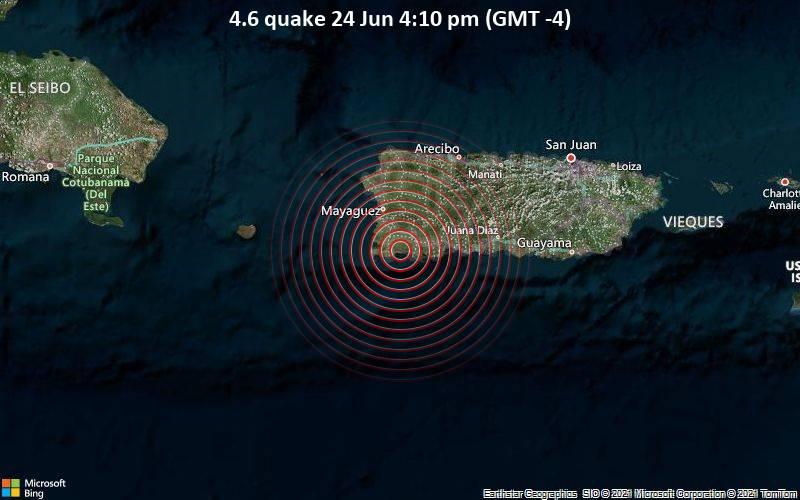 Moderates Erdbeben der Stärke 4.6 - Palmarejo Barrio, Lajas, 25 km südlich von Mayaguez, Puerto Rico, am Donnerstag, 24. Jun 2021 um 20:10 GMT