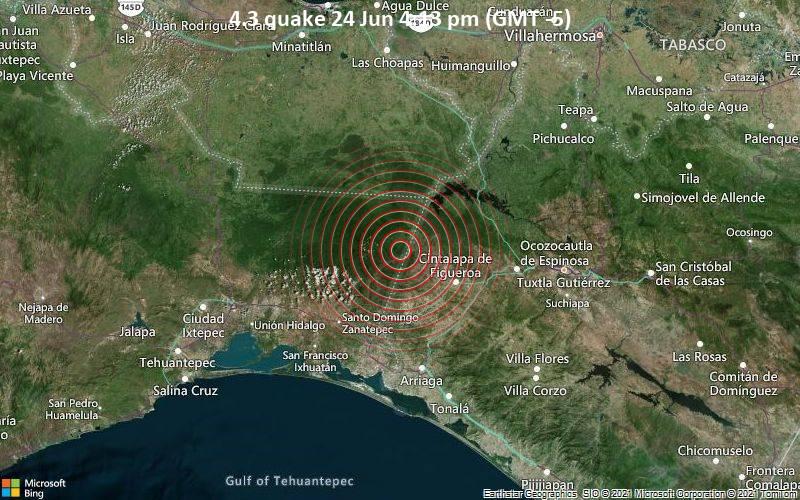 Leichtes Erdbeben der Stärke 4.3 - Río Negro, Oaxaca, 38 km nordwestlich von Cintalapa de Figueroa, Mexiko, am Donnerstag, 24. Jun 2021 um 16:13 Lokalzeit