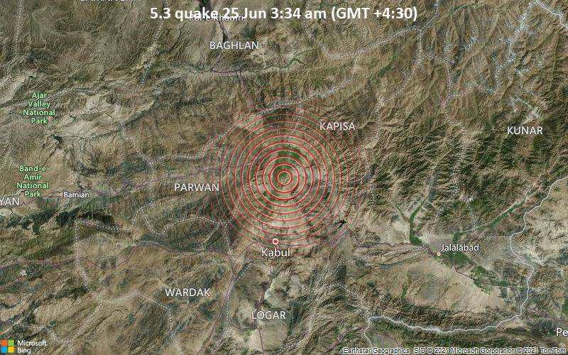 Starkes Magnitude 5.3 Erdbeben - Bagrām, 11 km südöstlich von Tscharikar, Chārīkār, Parwan, Afghanistan, am Donnerstag, 24. Jun 2021 um 23:04 GMT
