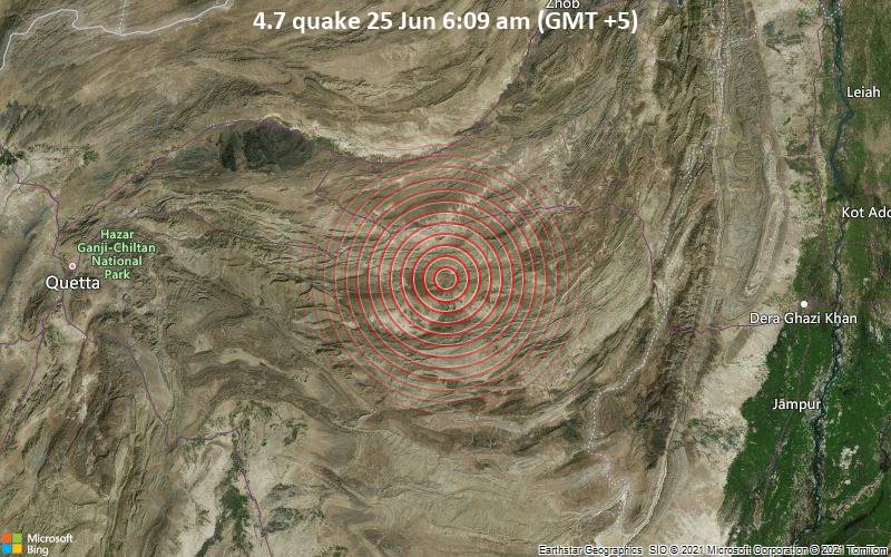 Moderates Erdbeben der Stärke 4.7 - 34 km südöstlich von Loralai, Balochistan, Pakistan, am Freitag, 25. Jun 2021 um 06:09 Lokalzeit