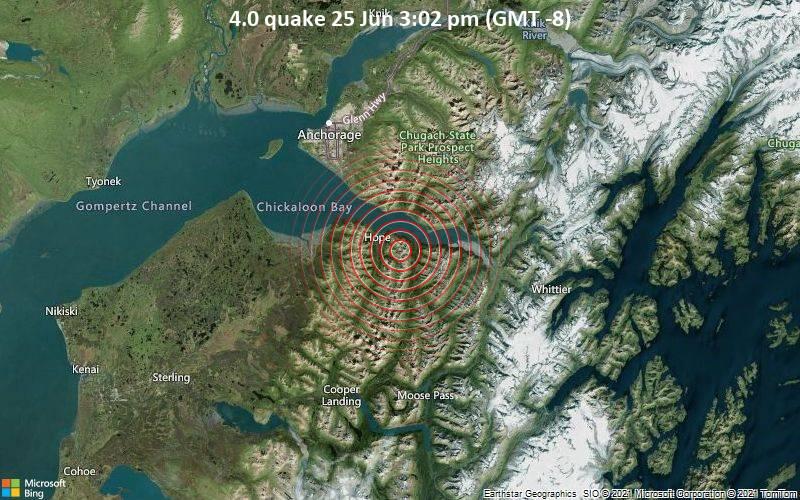 Erdbeben Der Starke 4 0 Sudostlich Von Alaska City Anchorage Alaska Alaska Usa Volcanodiscovery