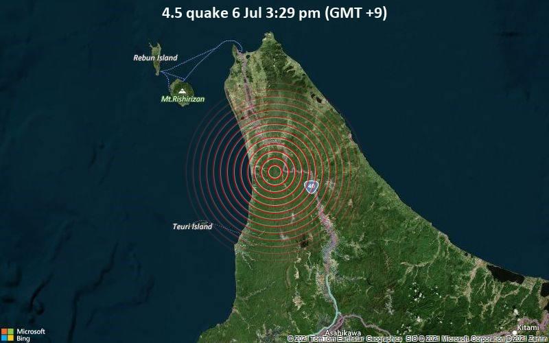 4.5 quake 6 Jul 3:29 pm (GMT +9)