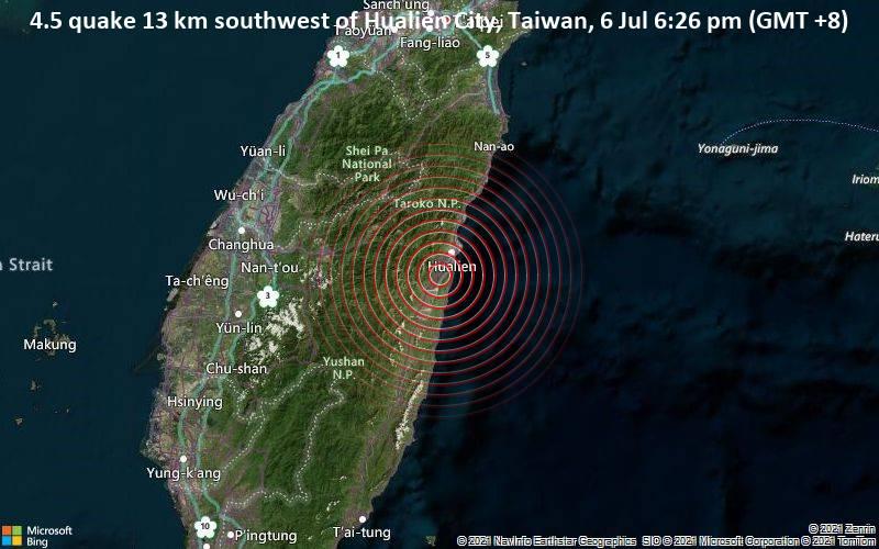 4.5 quake 13 km southwest of Hualien City, Taiwan, 6 Jul 6:26 pm (GMT +8)