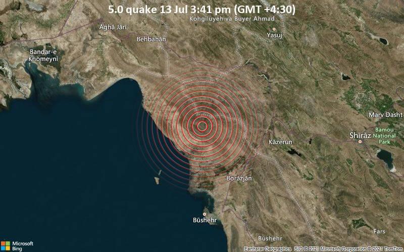 5.0 quake 13 Jul 3:41 pm (GMT +4:30)