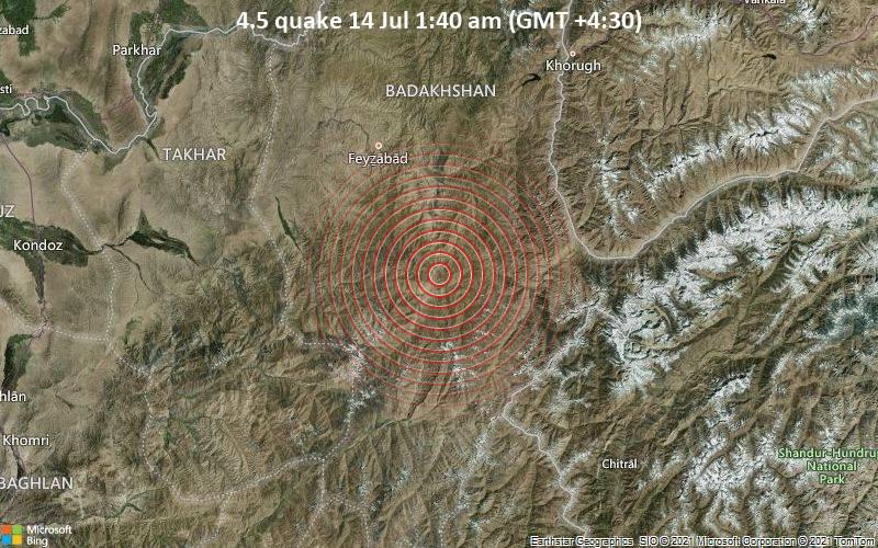 4.5 quake 14 Jul 1:40 am (GMT +4:30)