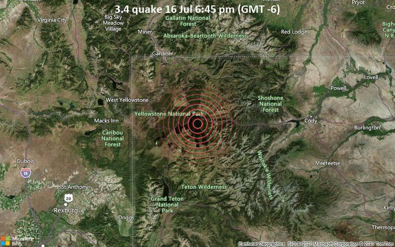 Leichtes Erdbeben der Stärke 3.4 - Teton County, Wyoming, 145 km südöstlich von Missouri, Gallatin County, Montana, USA, am Freitag, 16. Jul 2021 um 18:45 Lokalzeit