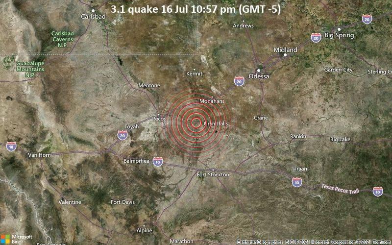 Leichtes Erdbeben der Stärke 3.1 - Reeves County, 87 km südwestlich von Odessa, Ector County, Texas, USA, am Freitag, 16. Jul 2021 um 22:57 Lokalzeit
