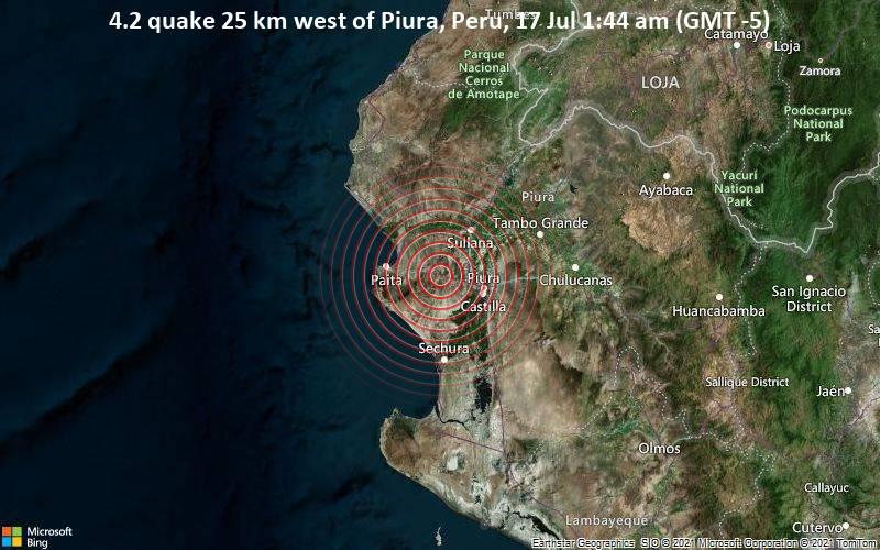 Leichtes Erdbeben der Stärke 4.2 - 25 km westlich von Piura, Peru, am Samstag, 17. Jul 2021 um 06:44 GMT