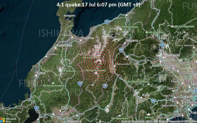 Moderates Erdbeben der Stärke 4.1 - Takayama Shi, Präfektur Gifu, 33 km westlich von Matsumoto, Japan, am Samstag, 17. Jul 2021 um 18:07 Lokalzeit