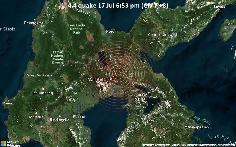 Moderates Erdbeben der Stärke 4.4 - 90 km südlich von Poso, Sulawesi Tengah, Indonesien, am Samstag, 17. Jul 2021 um 10:53 GMT
