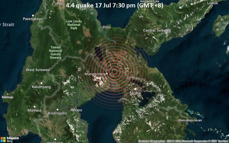 Moderates Erdbeben der Stärke 4.4 - 98 km südlich von Poso, Sulawesi Tengah, Indonesien, am Samstag, 17. Jul 2021 um 11:30 GMT