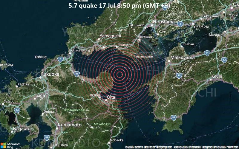 Moderates Erdbeben der Stärke 5.7 - Inland Sea, 46 km südlich von Tokuyama, Japan, am Samstag, 17. Jul 2021 um 20:50 Lokalzeit